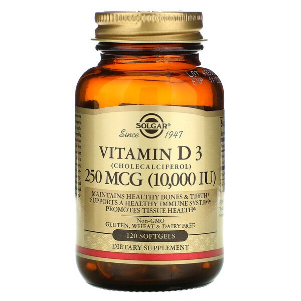 Vitamin D3 (Cholecalciferol), 250 mcg (10,000 IU), 120 Softgels