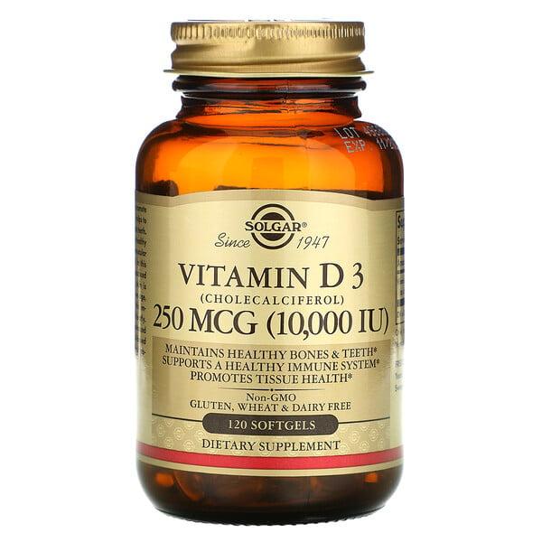 فيتامين د3 (كوليكالسيفيرول)، 250 مكجم، (10000 وحدة دولية)، 120 كبسولة هلامية