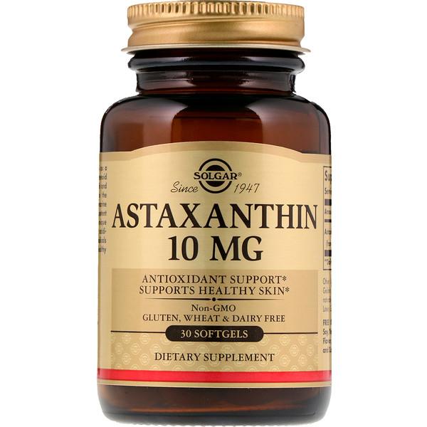 Solgar, アスタキサンチン、 10 mg、 30ソフトジェル