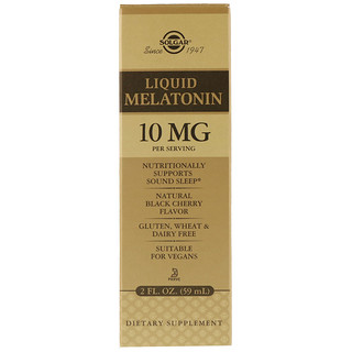Solgar, Liquid Melatonin, Natural Black Cherry Flavor, 10 mg, 2 fl oz (59 ml)