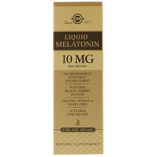 Solgar, Melatonina Líquida, Sabor Natural de Cereja Preta, 10 mg, 2 fl oz (59 ml)