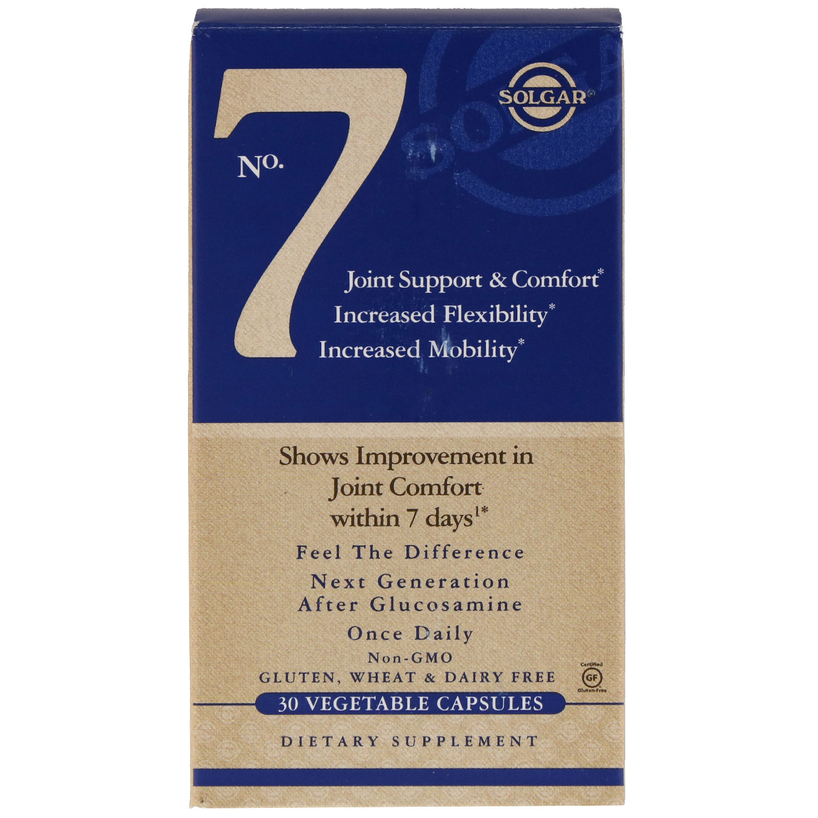 Solgar, No. 7, для комфорта и поддержки суставов, 30 капсул на растительной основе