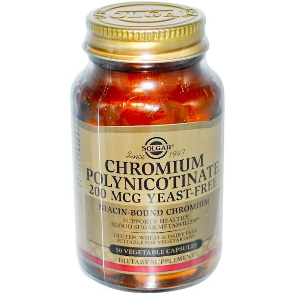Solgar, Chromium Polynicotinate, Yeast-Free, 200 mcg, 50 Veggie Caps (Discontinued Item)