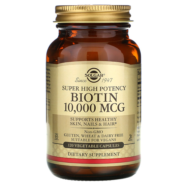 Biotin, Super High Potency, 10,000 mcg, 120 Vegetable Capsules