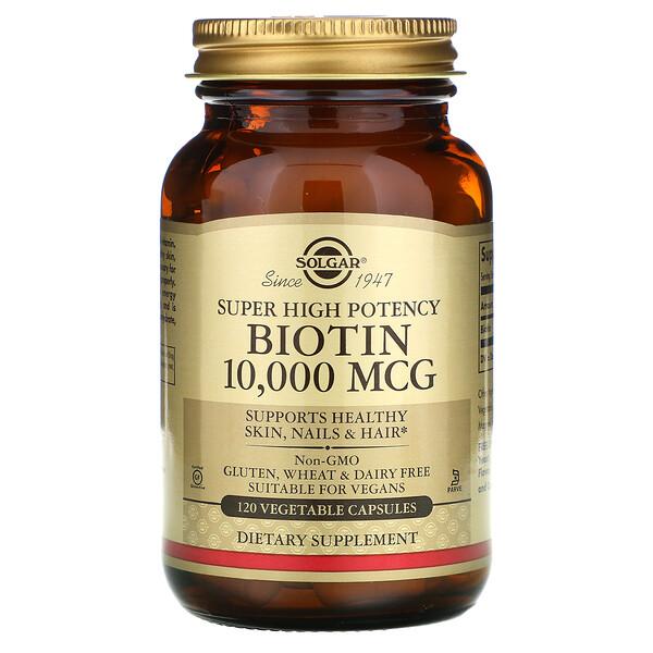 Solgar, Biotin, Super High Potency, 10,000 mcg, 120 Vegetable Capsules