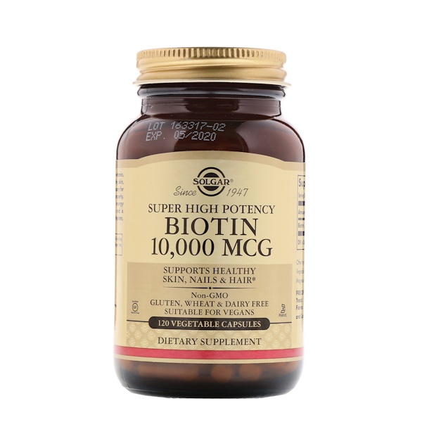 Solgar, Super High Potency, Biotin, 10,000 mcg, 120 Vegetable Capsules