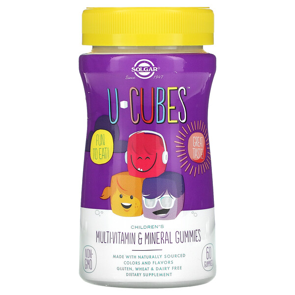 Solgar, U-Cubes, Children's Multi-Vitamin & Mineral Gummies, Cherry & Orange, 60 Gummies