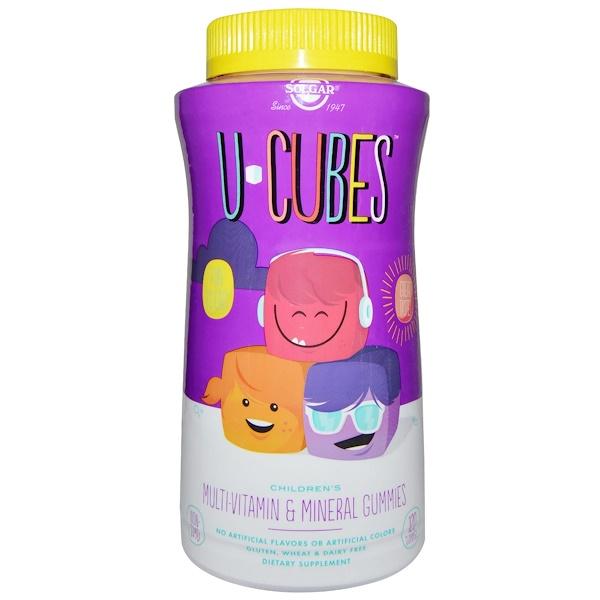 Solgar, Uキューブ, 子供用マルチビタミン&ミネラルグミ, 120グミ