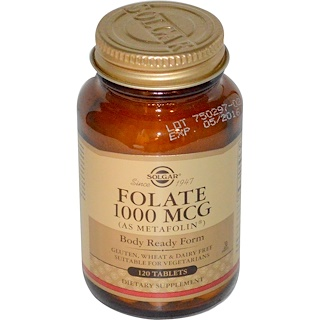 Solgar, Folate, As Metafolin, 1000 mcg, 120 Tablets