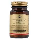 Отзывы о Solgar, Витамин D3, натуральный вкус клубники, банана и леденца, 1000 МЕ, 100 жевательных таблеток