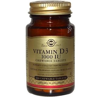 Solgar, Vitamin D3, Natural Strawberry Banana Swirl Flavor, 1000 IU, 100 Chewable Tablets
