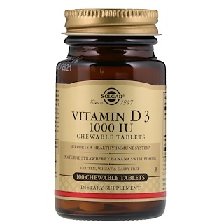 Solgar, Vitamin D3, Natural Strawberry Banana Swirl Flavor, 1,000 IU, 100 Chewable Tablets
