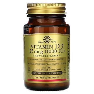 Solgar, Vitamin D3, Natural Strawberry Banana Swirl Flavor, 25 mcg (1,000 IU), 100 Chewable Tablets