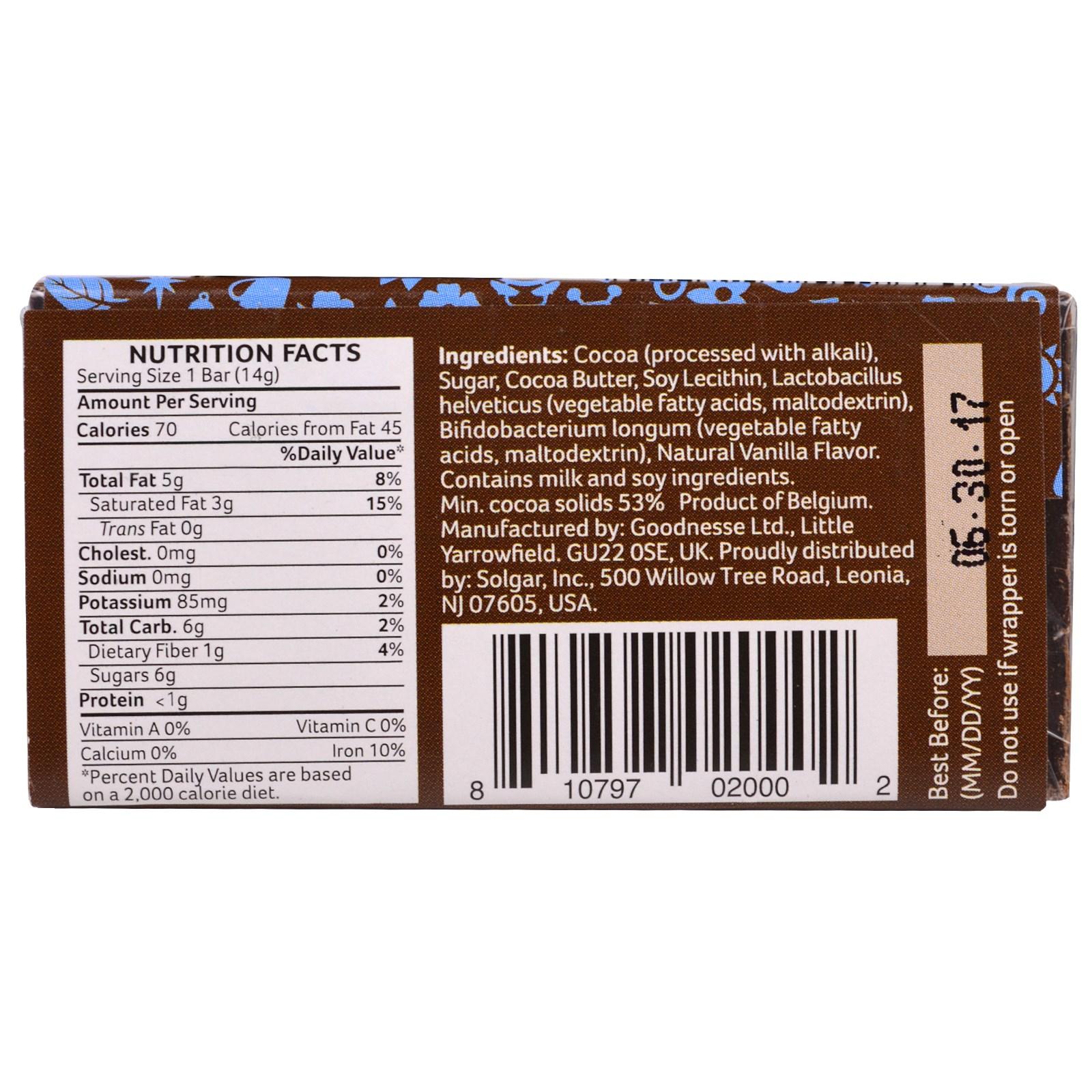 Solgar, Ohso, Daily Probiotic Belgian Chocolate, Original, 24 Bars ...