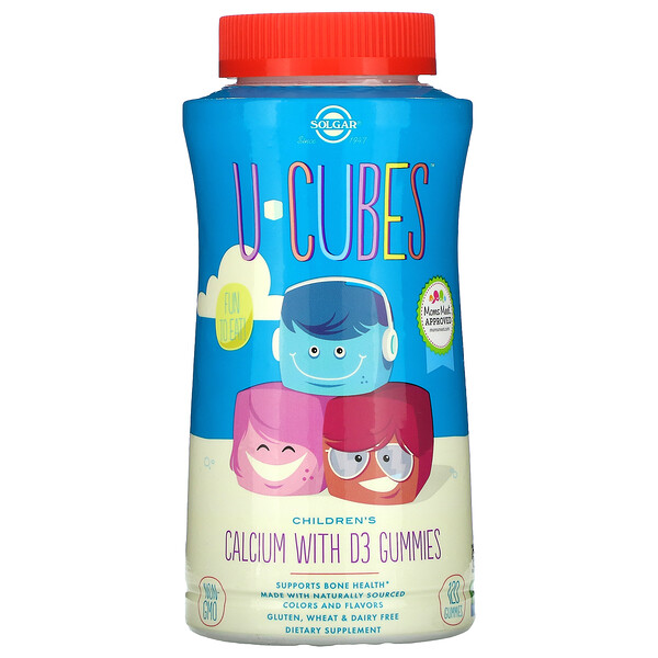 Solgar, U-Cubes, Children's Calcium With D3, Pink Lemonade, Blueberry, Strawberry, 120 Gummies