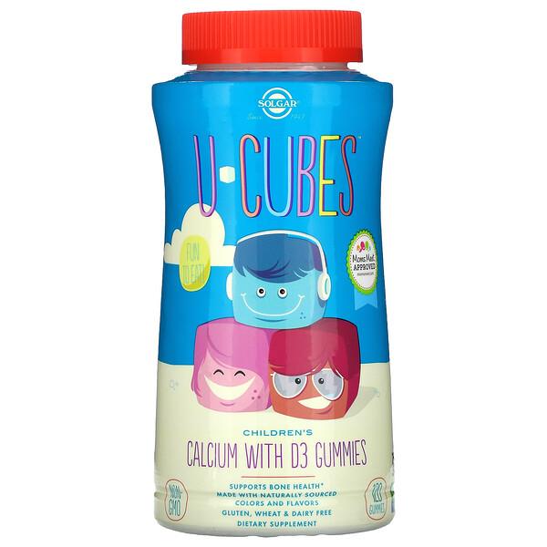 U-Cubes, кальций с витаминомD3 для детей, вкус розового лимонада, голубики и клубники, 120жевательных мармеладок