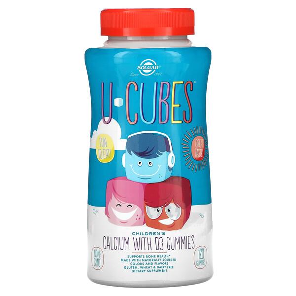 Solgar, U-Cubes, кальций с витаминомD3 для детей, со вкусом клубники, 120жевательных мармеладок