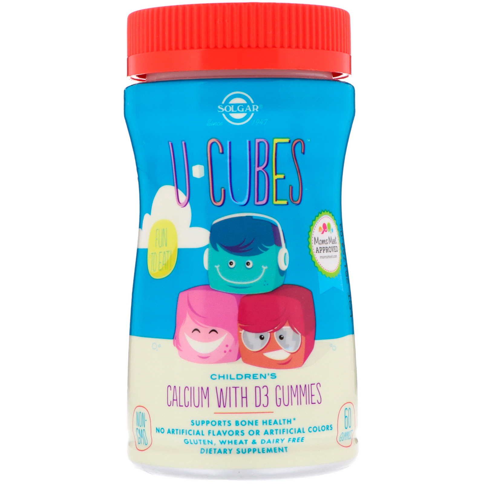 Solgar, U-Cubes, Children s Calcium With D3, Pink Lemonade, Blueberry,  Strawberry Flavors, 60 Gummies - iHerb.com 8b93c07e80ee