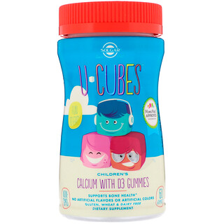 Solgar, U-Cubes, Children's Calcium With D3, Pink Lemonade, Blueberry, Strawberry Flavors, 60 Gummies