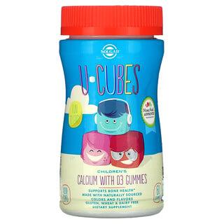 Solgar, U-Cubes, детский кальций с витаминомD3, со вкусом розового лимонада, черники и клубники, 60жевательных таблеток