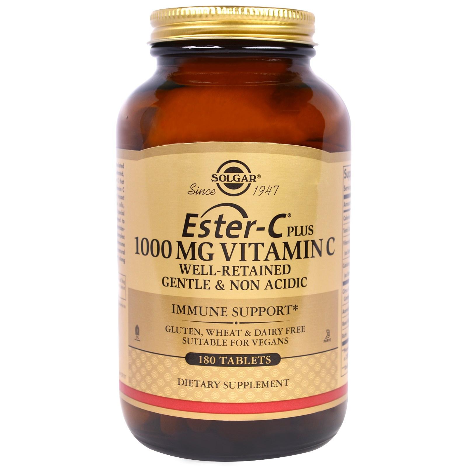 "Solgar, ""Эфир-C плюс"", витамин C, 1 000 мг, 180 таблеток"
