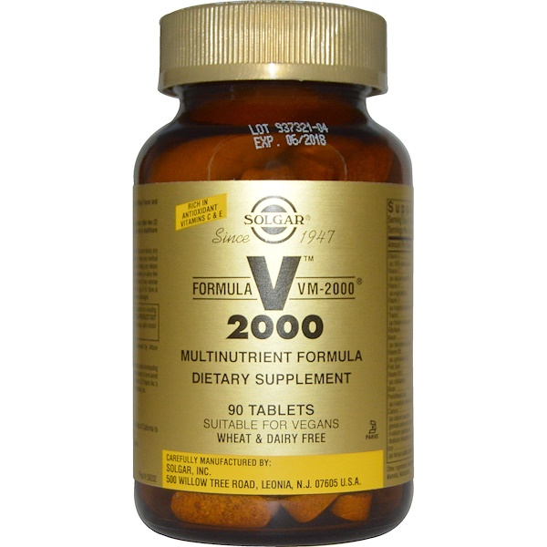 Solgar, Formula VM-2000, Multinutrient Formula, 90 Tablets