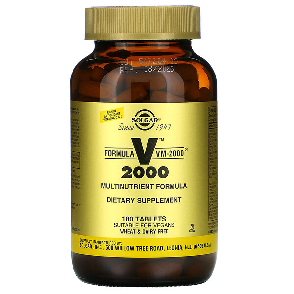 Solgar, Formula VM-2000, Multinutrient Formula, 180 Tablets