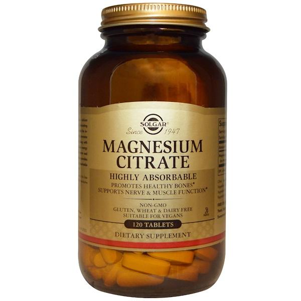 保健品礦物質鎂檸檬酸鎂:Solgar, Magnesium Citrate, 120 Tablets