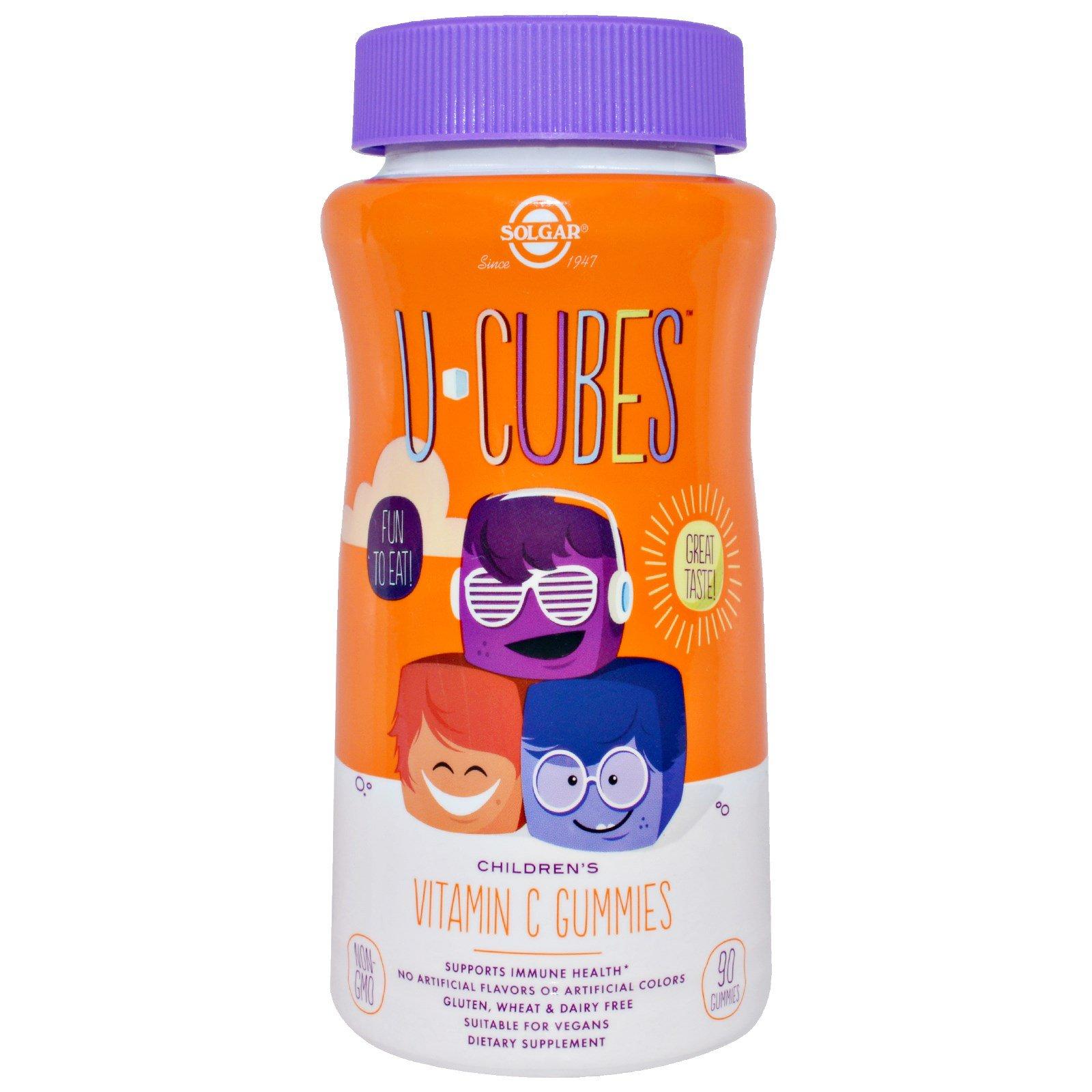 Solgar, U-Cubes, жевательные конфеты с витамином C для детей, 90 шт.