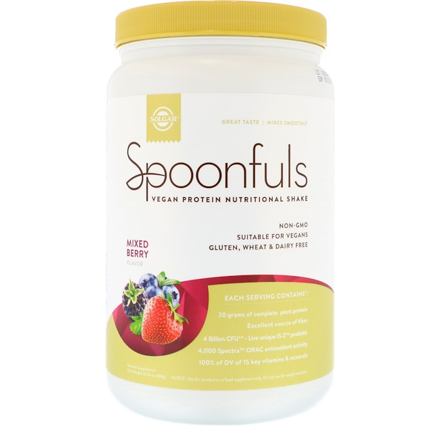 Solgar, Spoonfuls, Vegan Protein Nutritional Shake, Mixed Berry, 1.3 lbs (588 g)