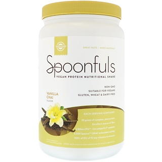 Solgar, Spoonfuls, Vegan Protein Nutritional Shake, Vanilla Chai, 1.3 lbs (574 g)