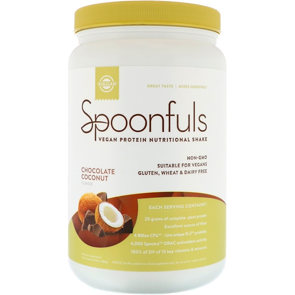 Solgar, Spoonfuls, Vegan Protein Nutritional Shake, Chocolate Coconut, 1.26 lbs (686 g) (Discontinued Item)