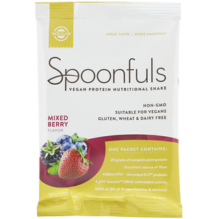 Solgar, Spoonfuls, Vegan Protein Nutritional Shake, Mixed Berry, 1.4 oz (42 g)
