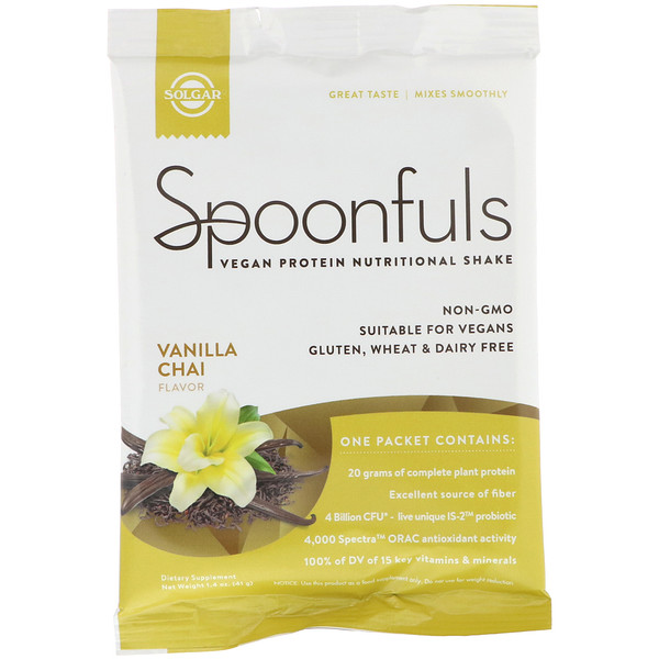 Solgar, Spoonfuls, Vegan Protein Nutritional Shake, Vanilla Chai, 1.4 oz (41 g) (Discontinued Item)