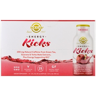 Solgar, Energy Kicks, Natural Pomegranate, 12 Pack, 2 fl oz. (59 ml) Each