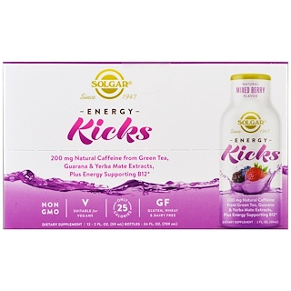 Solgar, Energy Kicks, Mixed Berry, 12 Pack, 2 fl oz. (59 ml) Each