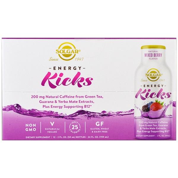 Solgar, Energy Kicks, Mixed Berry, 12 Pack, 2 fl oz. (59 ml) Each (Discontinued Item)