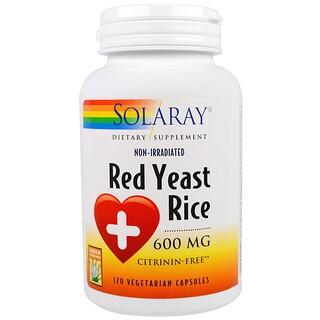 Solaray, レッドイースト ライス, 600 mg, ベジカプセル 120粒