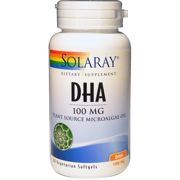Solaray, DHA, Plant Source Microalgae Oil, 100 mg, 60 Veggie Softgels (Discontinued Item)