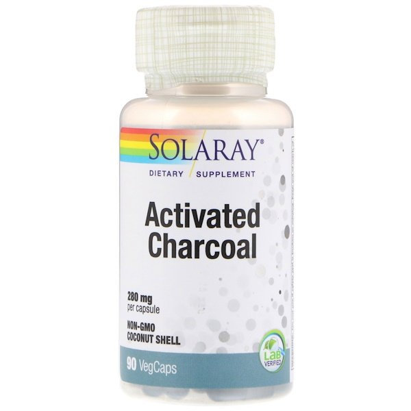 Solaray, Activated Charcoal, 280 mg, 90 VegCaps (Discontinued Item)