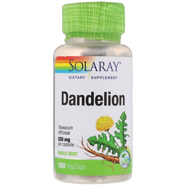 Solaray, Dandelion, 520 mg, 100 VegCaps (Discontinued Item)