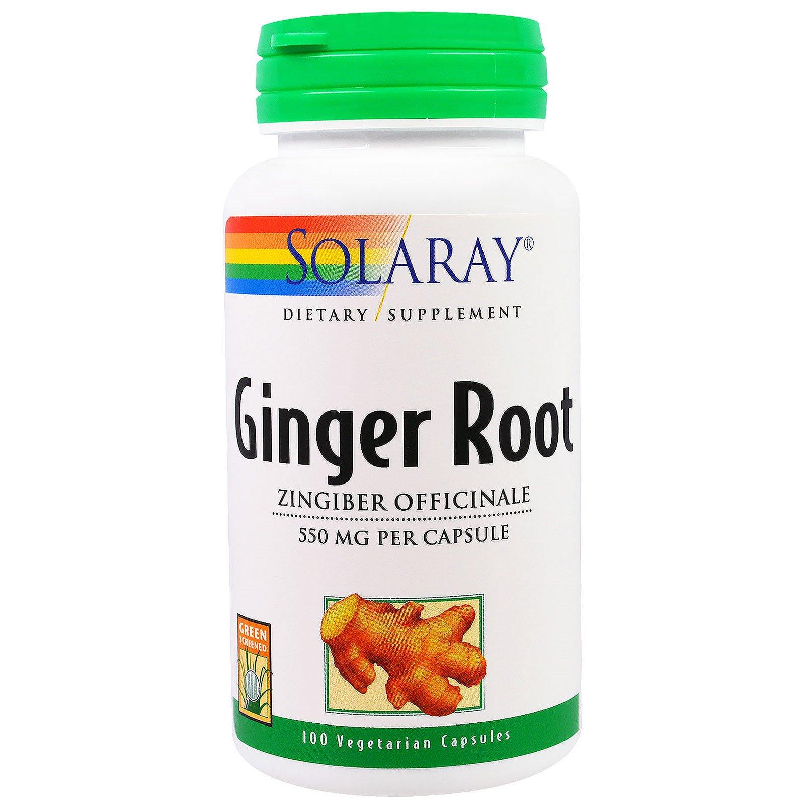 Solaray, Корень имбиря, 550 мг, 100 вегетарианских капсул