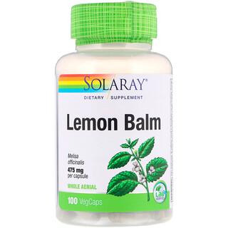 Solaray, Lemon Balm, 475 mg, 100 VegCaps