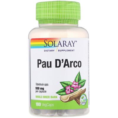 Купить Solaray По д'арко, 550 мг, 100 капсул с оболочкой из ингредиентов растительного происхождения
