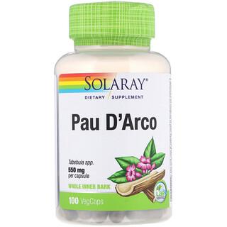 Solaray, Pau D'Arco, 550 mg, 100 VegCaps