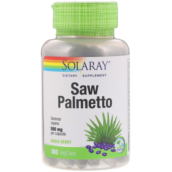Solaray, Saw Palmetto Whole Berry, 580 mg, 180 VegCaps