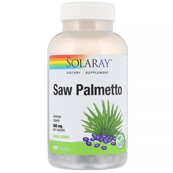 Solaray, Saw Palmetto Whole Berry, 580 mg, 360 VegCaps