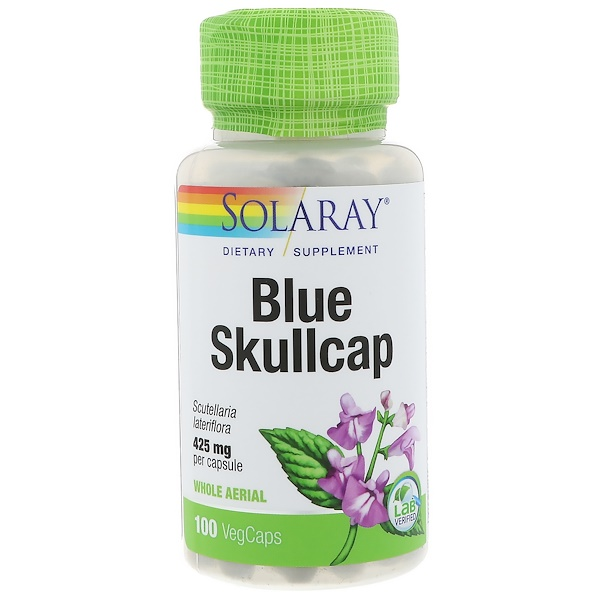 Solaray, Blue Skullcap, 425 mg, 100 VegCaps (Discontinued Item)