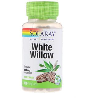 Solaray, ива белая, 400мг, 100 растительных капсул