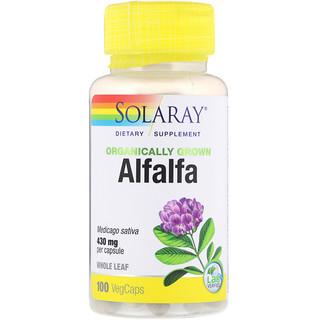 Solaray, Organically Grown Alfalfa, 550 mg, 100 VegCaps